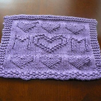 Hand Knit Amethyst Mom With Hearts Dish Cloth or Wash Cloth   hollyknittercreations - Housewares on ArtFire