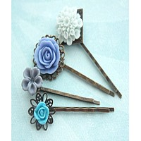 Shades of Blue Flower Hair Clips