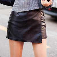 Black PU Zip Detail Asymmetric Hem Skorts
