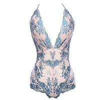 ISABELLA LACE TEDDY - NUDE/TEAL