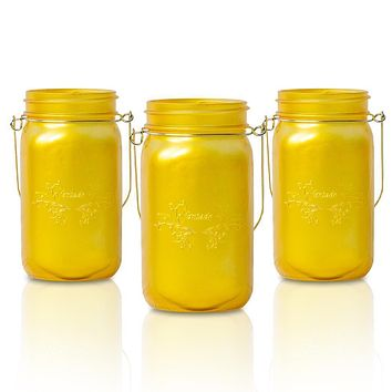 BLOWOUT (6-Pack) Fantado Wide Mouth Frosted Yellow Gold Color Mason Jar w/ Handle, 32oz