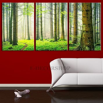Large Wall Art Green Nature Forest Canvas Art Print Forest Scenery 3 Panel Large Canvas Print