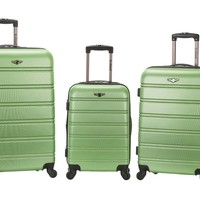 Rockland Melbourne 3 Piece Abs Luggage Set, Green, One Size