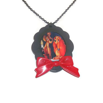 Lady and the Tramp Necklace, Disney, Red Bow, Large Cameo Cute Kitsch Jewelry