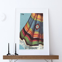 Loteria El Sarape Mexican Retro Illustration Art Print Vintage Giclee on Cotton Canvas or Paper Canvas Poster Wall Decor