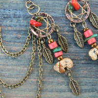 Jasper zuni bear dreamcatcher chained ear cuff SET turquoise and red coral cuff in boho gypsy hippie hipsternative american tribal style