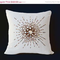 Valentine SALE Silk pillows with mirror embroidery- Couch pillows- Decorative throw pillows white- accent pillows- Sofa pillow -24x24 pillow