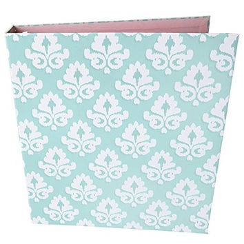 """bloom daily planners Binder (+) 3 Ring Binder (+) 1 Inch Ring (+) 10"""" x 11.5"""" Inches - Mint Damask Design"""