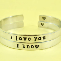 i love you/i know  -  Hand Stamped Aluminum Cuff Bracelets Set, Newsprint Font, Forever Love, Friendship, BFF