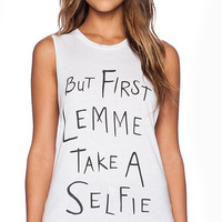 White But First Lemme Take A Selfie Sleeveless Tank Top