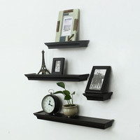 Furnistar Decorative Home Decor Black Wood Floating Wall Shelves