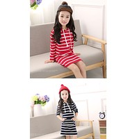 Autumn Girl Dress Hooded Long Sleeve Kids Clothes Toddler Next Casual Children Clothing Striped Baby Dresses Girls