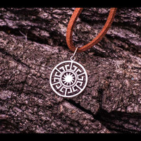 Sun Wheel Symbol Pagan Amulet Sterling Silver Pendant Handcrafted Jewelry