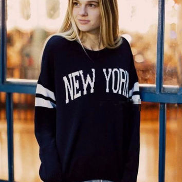 NEW YORK Graphic Print Striped Sleeve Knitted Sweater