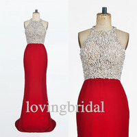 2014 Long Red Chiffon Beaded Prom Dress Bridesmaid Dress Party Dress Simple Homecoming Dress Formal Prom Dress Custom