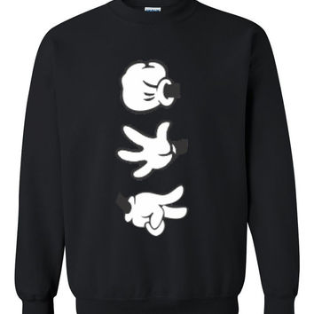 Rock Paper Scissors Mickey Mouse Hands Sweatshirt CrewNeck in Black, Red & Grey for Adults