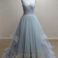 A-line Sky Blue Organza Long Prom Dress /Wedding Dress AM300