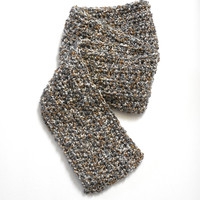 Men's Scarf in Subtle Tones of White Grey and Tan