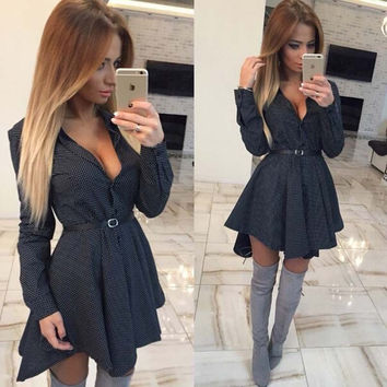 Irregular Long Sleeve Elegant Turn-Down Collar Solid Color Black Button Mini Dress Skirt