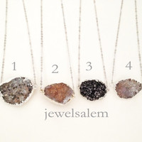 Druzy Necklace Black Brown Gray Geode Drusy Rough Gem Stone Silver Edge Layered Long Natural Mineral Rustic Statement Chunky Crystal Quartz
