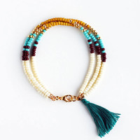 Multicolor Beaded Friendship Bracelet with Tassel - Cream Chocolate Butterscotch Yellow Turquoise Gold Peacock Green - Southwestern Jewelry