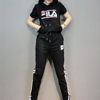 """Fila"" Women Casual Multicolor Letter Hooded Short Sleeve Trousers Set Two-Piece Sportswear"