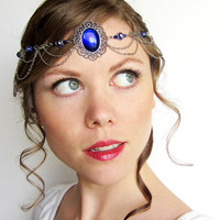 Medieval Princess Circlet in Silver and Blue