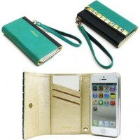 JAVOedge Studded Color Block Clutch Wallet Case with Wristlet for the Apple iPhone 5s, iPhone 5 (Turquiose + Black)