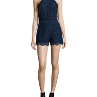 Naira Sleeveless Lace Romper, Navy, Size: