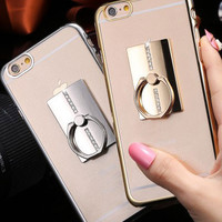 Metal Plated Bling Diamond Pattern Case For iPhone 6 6s 6s Plus