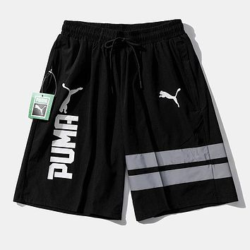PUMA New fashion letter print sports leisure shorts Black