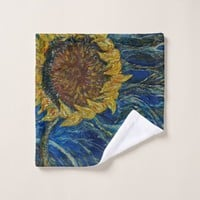 Sunflower Blown Blue Art Washcloth