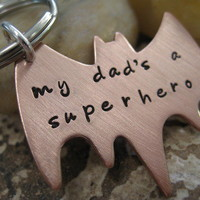 Personalized Hand Stamped Copper Superhero Keychain from sTuck in the Coop
