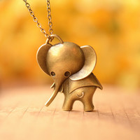 retro bronze elephant pendant ,lovely baby elephant necklace ,so cute elephant ,best gift for your friend and lover