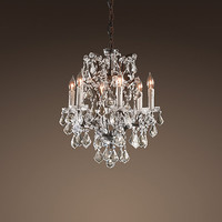 19th C. Rococo Iron & Crystal Chandelier Small