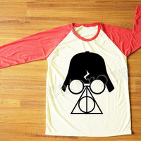 Deathly Hallows T-Shirt Darth Vader Shirt Star Wars TShirt Harry Potter TShirt Red Sleeve Shirt Women Shirt Unisex Shirt Baseball Tee S,M,L