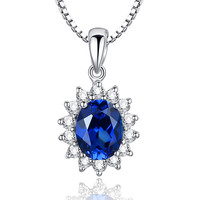 Sterling Silver 3.5ct Oval Sapphire Pendant Necklace