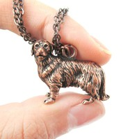 Realistic Golden Retriever Puppy Dog Shaped Animal Pendant Necklace in Copper