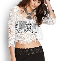 FOREVER 21 Crocheted Crop Top Cream