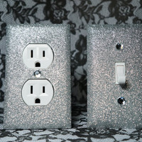 SET of SILVER Glitter Swichplate Outlet Covers ANY Styles