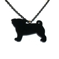 Black Pug Dog Necklace, Cute Perspex Black Laser Cut Animal, Quirky Kitsch Jewelry