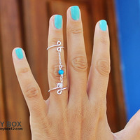 Turquoise Pop Stacking Ring - Turquoise Chain Ring - New Knuckle Ring - Body Jewelry - Double Ring - 925 Silver Chain  Ring