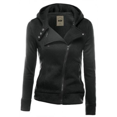 Image of Fashion Zipper Solid Color Hooded  Cardigan Jacket Coat