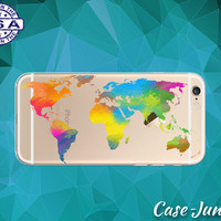 World Map Watercolor Clear Case Rainbow Paint Tumblr Cover For iPhone 5, iPhone 5C, iPhone 6, and iPhone 6 +, iPhone 6s, iPhone 6s Plus +