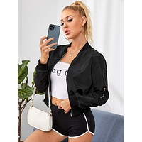SHEIN Zipper Detail Solid Bomber Jacket
