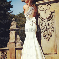 Sexy Mermaid Wedding Dres with pearl beads floral back a bow bak.one shoulder Prom dresses transparent back /see through back/sheer back