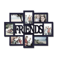 """Adeco Decorative Black Wood """"Friends"""" Wall Hanging Collage Picture Photo Frame, 8 Openings, 4x6"""""""