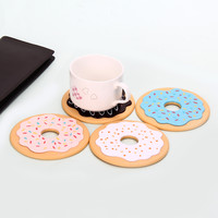 4Pcs Cute Donut Shape Silicone Coasters Cup Cushion Kitchen Accessories Mat Cup Bar Mug Home Decor Drink Placement Mat