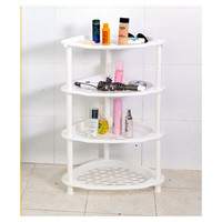 Big Toilet Bathroom Storage Rack Plastic Washbasin Rack Kitchen Storage Tripod Four-layers Rack   white