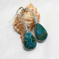 Peruvian Chrysocolla wire wrapped malachite azurite blue earrings dangle teardrop drop Peru tribal bohemian Rain Forest stone handmade ooak